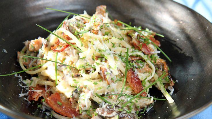 Pasta med kremet steinsopp og bacon