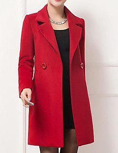 Kadın Orta Kaşmir / Pamuklu Uzun Kollu Çentik Yaka,Mavi / Kırmızı / Siyah / Sarı Kış Solid Çin Stili / SofistikeGünlük/Sade / Çalışma /