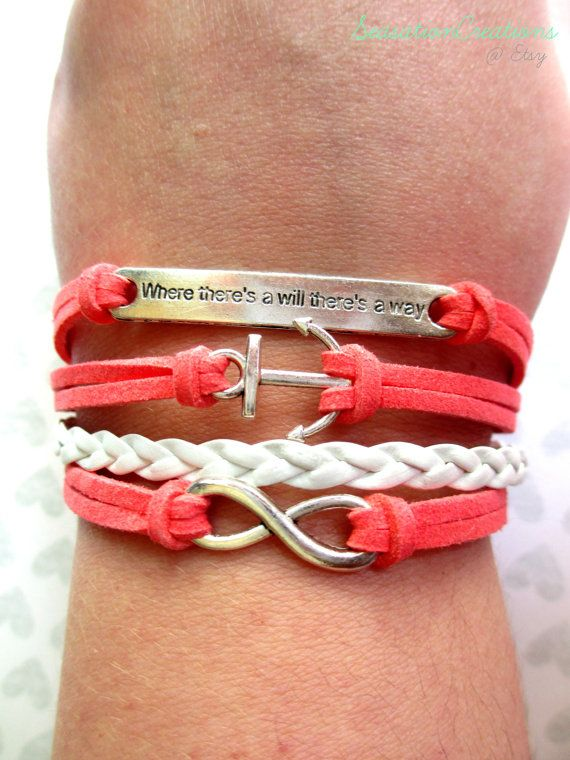 Beach Jewelry Coral & White Nautical Leather Bracelet