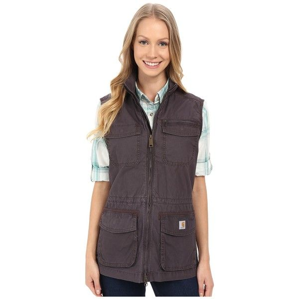 Carhartt El Paso Utility Vest (Dark Shale) Women's Vest ($70) ❤ liked on Polyvore featuring outerwear, vests, carhartt vest, purple vest, carhartt, pocket vest and utility vest