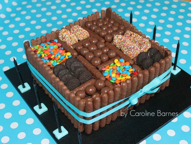 Chocolate candy cake - chocolate mud cake and ganache covered...