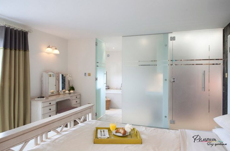 Modern Frosted Glass Partitions Design In A Beautiful Bedroom Interior Incredible Erase the Boundaries of Space, Glass Partition in the Apartment Apartment