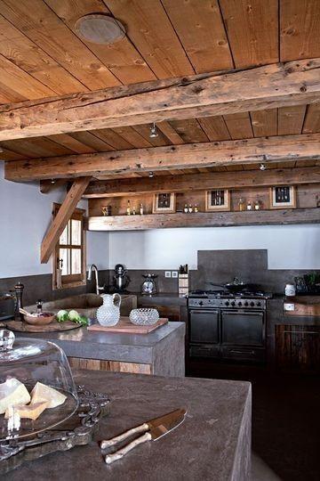 cabin kitchen: Dreams Kitchens, Cabins Kitchens, Beams, Rustic Kitchens, Kitchens Ceilings, Wood Ceilings, House, Concrete Kitchens, Concrete Countertops