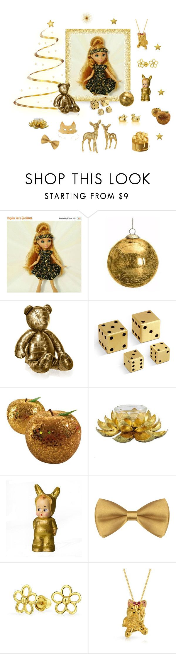 Sparkling Gold by styledonna on Polyvore featuring NOVICA, Wyld Home, Bling Jewelry, L'Objet, Stalvey, Christmas and gold