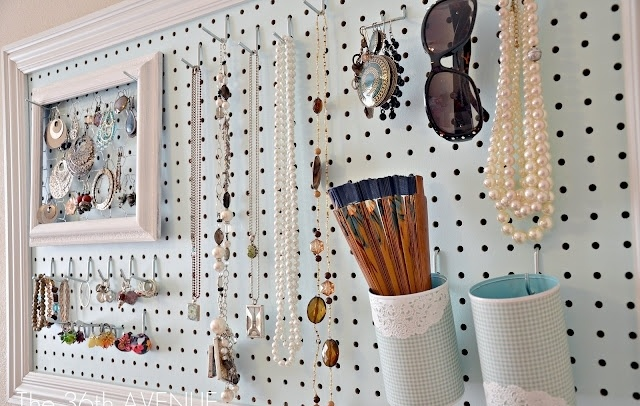 Pegboard lets you customize storage for your needs, from necklaces to sunglasses.