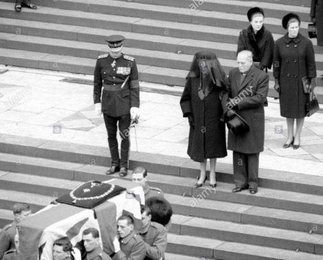 Clementine Churchill is escorted behind the casket of her husband, Winston Churchill
