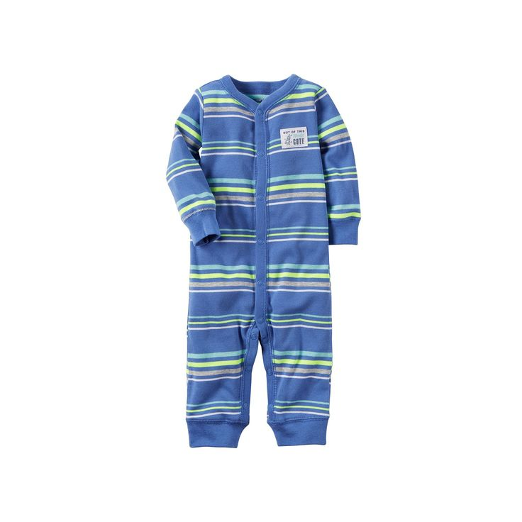 """Baby Boy Carter's """"Out Of This World Cute"""" Striped One-Piece Pajamas, Size: 9 months, Med Blue"""