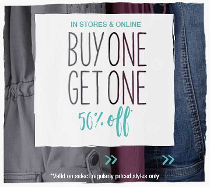 in stores and online, buy one, get one 50% off select styles, valid on select regularly priced styles only