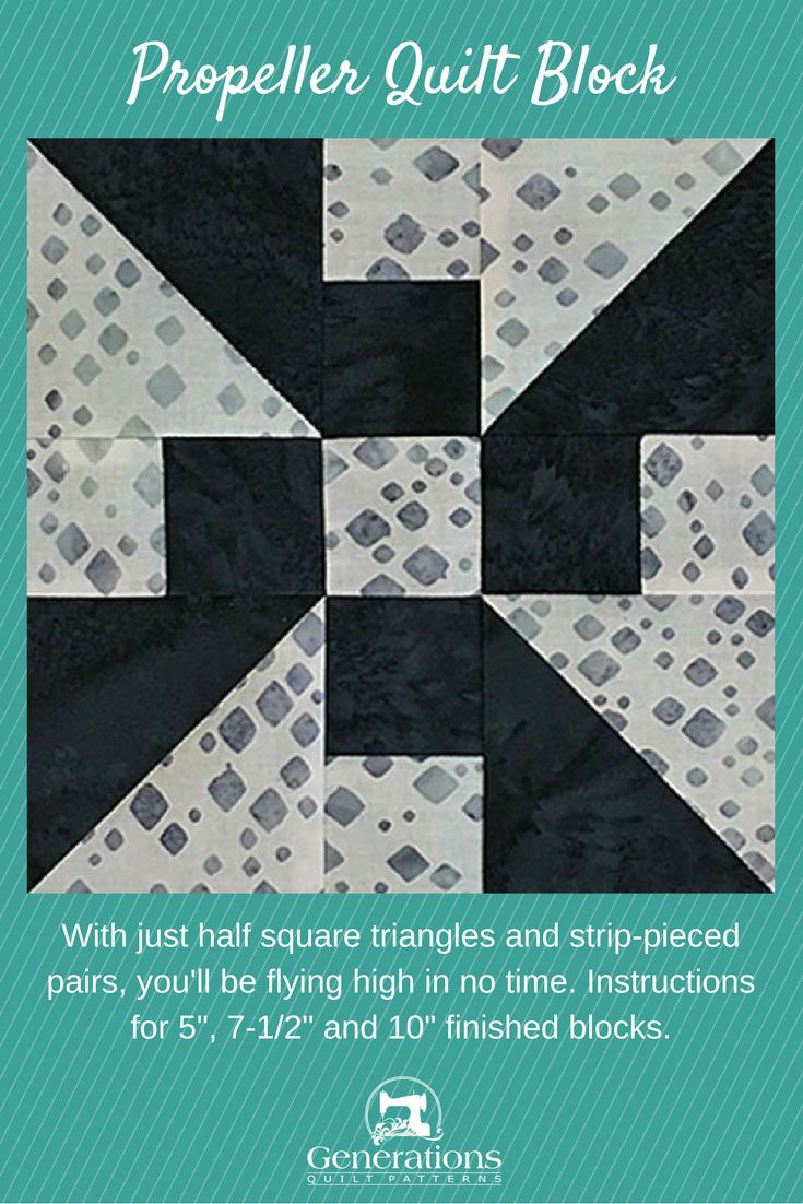"""With just half square triangles and strip-pieced pairs, you'll be flying high in no time. Instructions for 5"""", 7-1/2"""" and 10"""" finished blocks."""