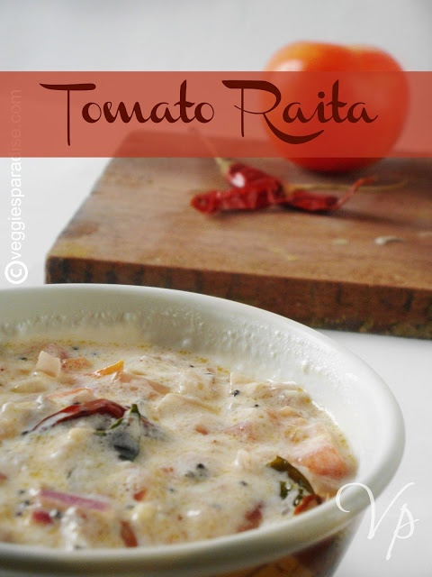 Tomato Raita - Today is a simple and delicious recipe with tomato , that can be served with Indian flat bread or with rice.    http://www.veggiesparadise.com/2013/02/tomato-raita-thakkali-pachadi-step-by.html