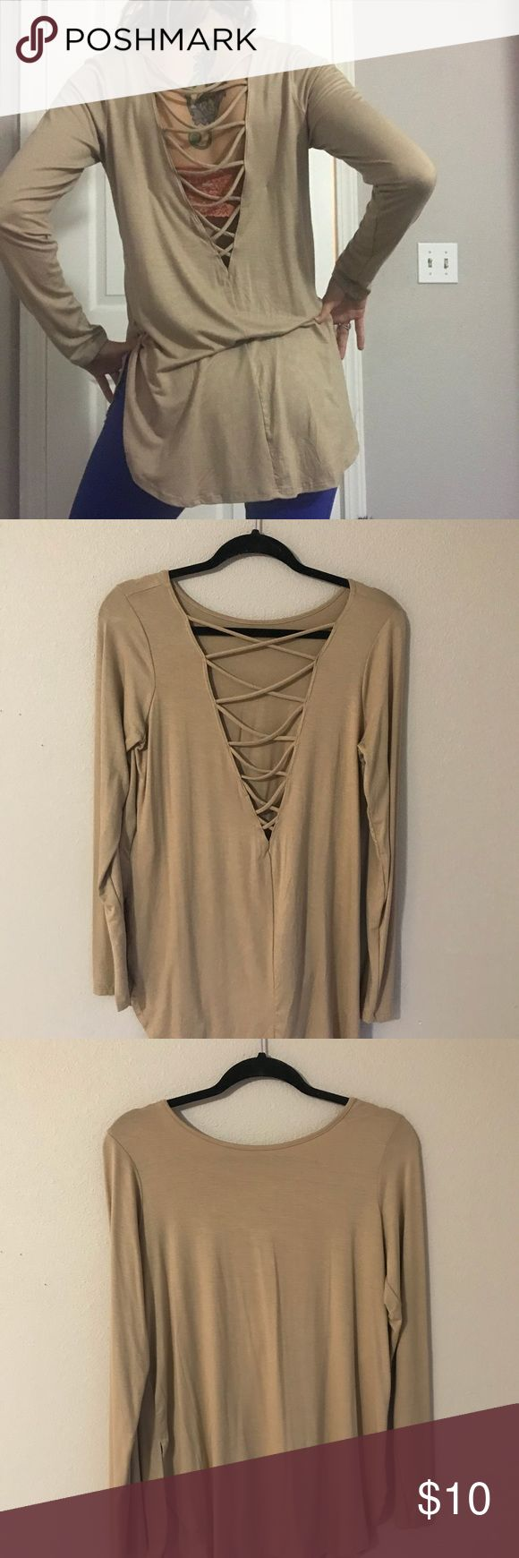 Forever 21 nude long sleeve top Brand new w/out tags. Never worn except to take these photos. Forever 21 nude colored top with string back. Forever 21 Tops Blouses