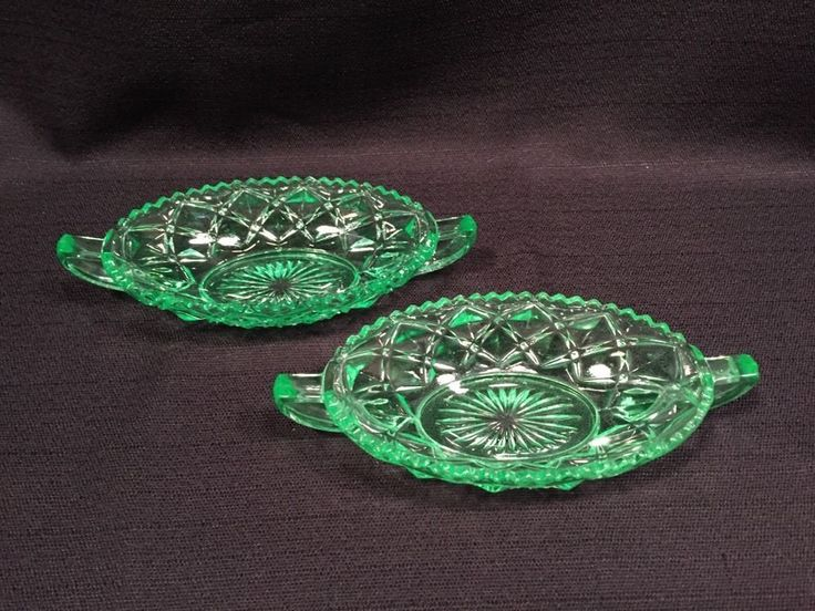 Depression Glass Relish Pickle Dish Set of 2 Imperial Little Jewel Vaseline Glow #Imperial