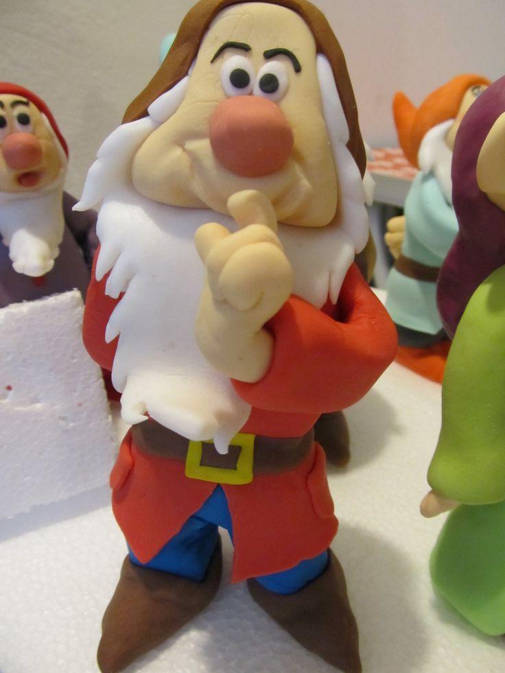 #Eolo, i #sette #nani, #biancaneve in #pdz (#pasta di zucchero). #Cake Design