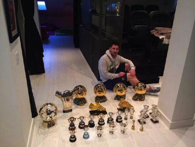 Lionel Messi poses with 27 of his trophies, his brother mocks Cristiano Ronaldo