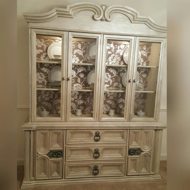 Refinished China Cabinet In Annie Sloans Old Ochre Finished With Martha Stewart Glazes Www Faceboom Com Turnedtreasured My Refinished Projects