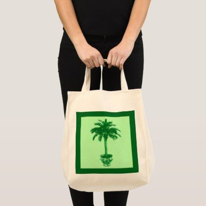 Potted Palm Tree - emerald and light green Tote Bag  $16.70  by Floridity  - cyo customize personalize diy idea