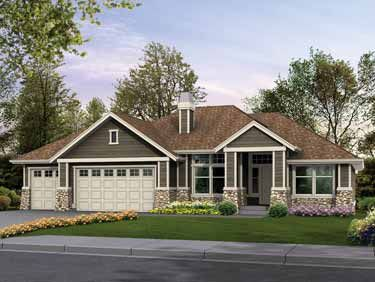 Classic Rambler Perfect for Family Living (HWBDO14844) | Craftsman House Plan from BuilderHousePlans.com