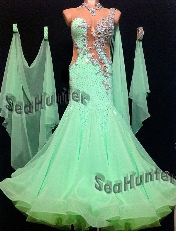 Ballroom Bright Green Cocktail Standard Waltz tango Prom US8 Dance Dress #B2840 in Clothing, Shoes & Accessories, Dancewear, Adult Dancewear | eBay
