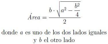 Fórmula del área de un triángulo isósceles
