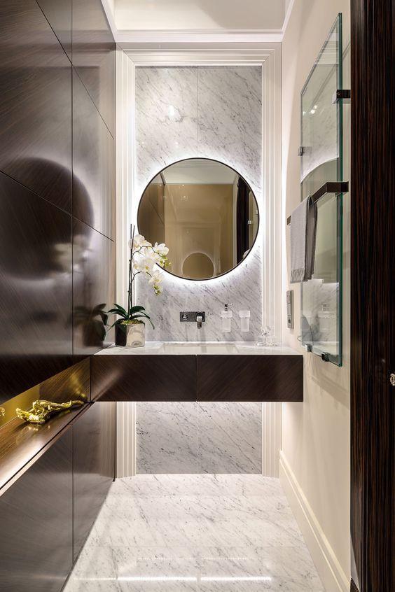 Metal Towel Rack Round Wall Mirrir Marble Floor And Accent