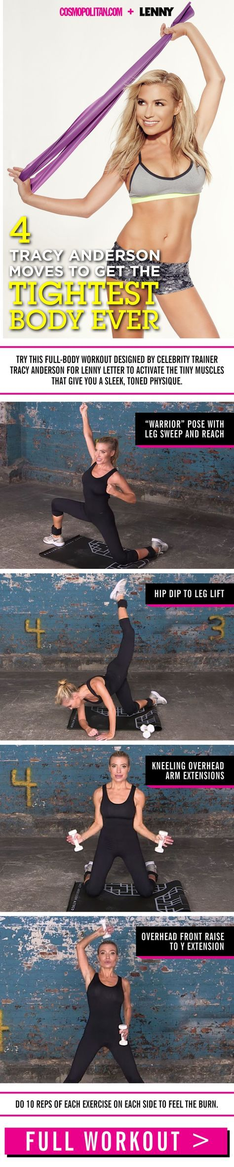 TRACY ANDERSON WORKOUT: Celebs like Jennifer Lawrence, Kim Kardashian, and Taylor Swift swear by her workouts, so if you want to train like an a-lister, here's what you've got to do! Use these four moves — warrior pose, hip dip to leg lift, kneeling overhead arm extensions, and overhead front raise — to tone up! Click through for the full, free workout!