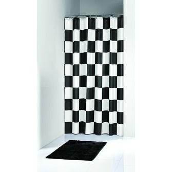 KARWEI Chess douchegordijn zwart/wit 180 x 200 cm   Douchegordijnen   Badkameraccessoires   Sanitair   KARWEI