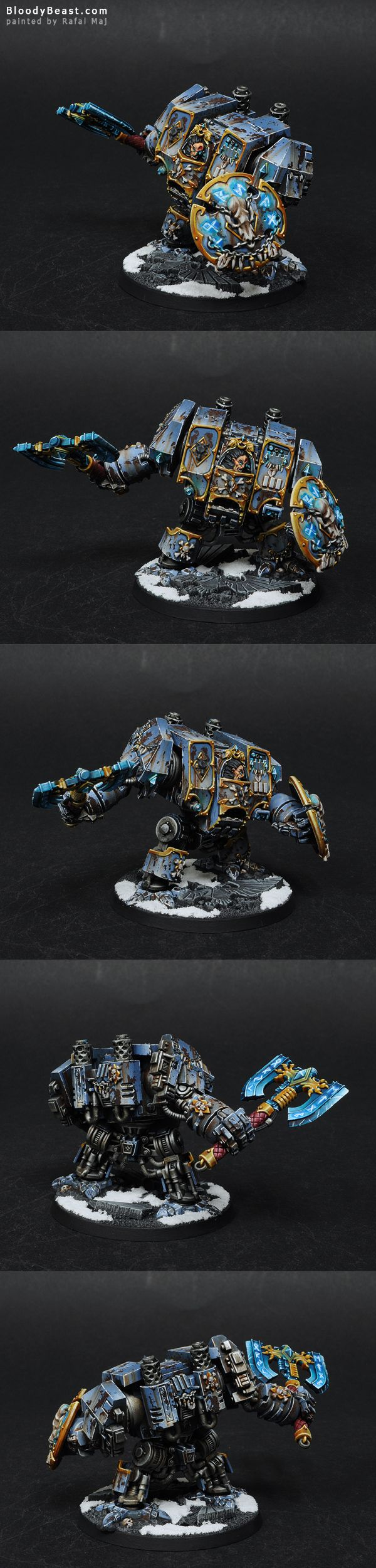 I've painted some new Space Wolves. This mini is just awesome. I love the idea of dreadnought with great axe and shield. More Space Wolves soon. Pomalowałem trochę nowych Kosmicznych Wilków. Ta fig...
