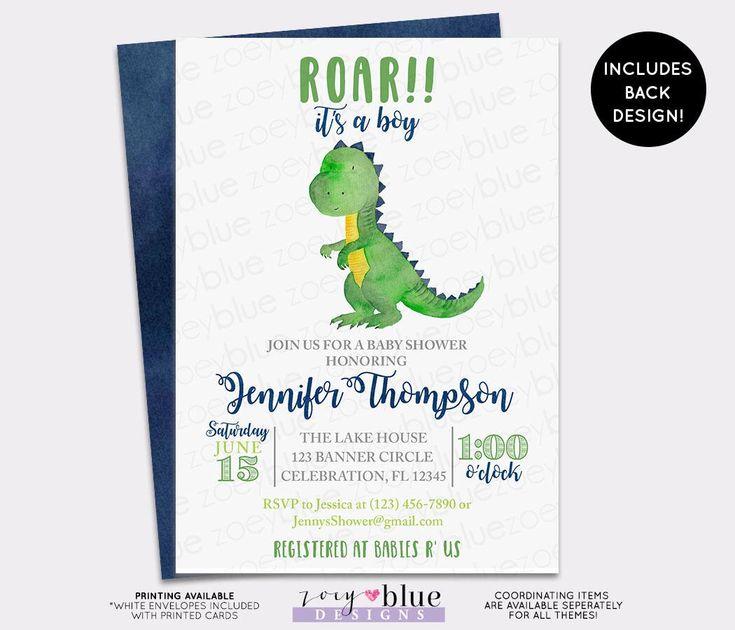 Dinosaur Baby Shower Invitation - Trex Watercolor Baby Shower Invite -Dino Baby Sprinkle Invitation- Boy Blue Green Baby Shower Invitation by ZoeyBlueDesigns on Etsy https://www.etsy.com/listing/517654582/dinosaur-baby-shower-invitation-trex