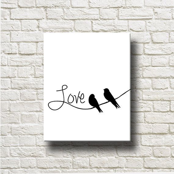 Love Birds Silhouettes Printable Graphics Instant by DNgraphics
