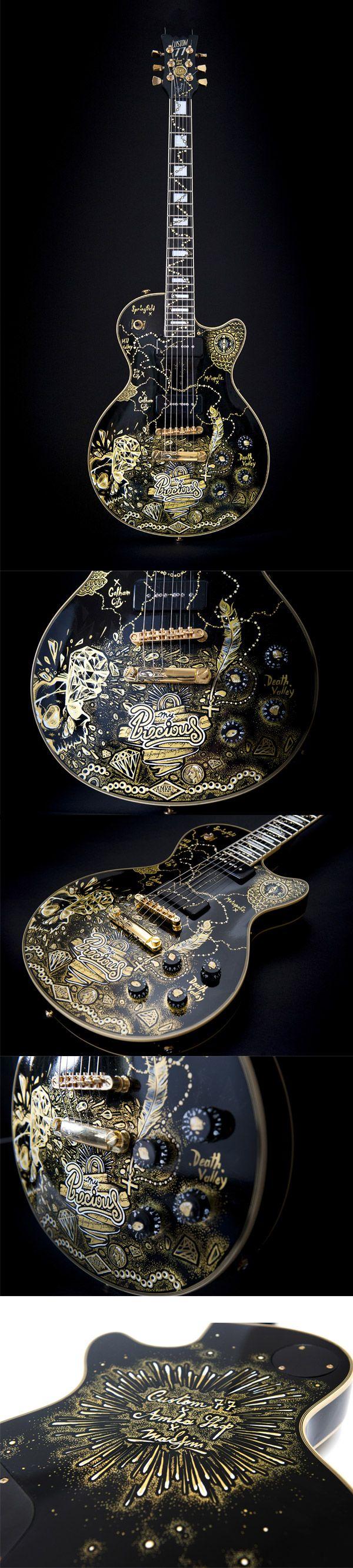 """Une custom guitar intitulée """" My Precious """" par l'artiste Maksim de l' AmkaShop. Retrouvez des cours de #guitare d'un nouveau genre sur MyMusicTeacher.fr"""