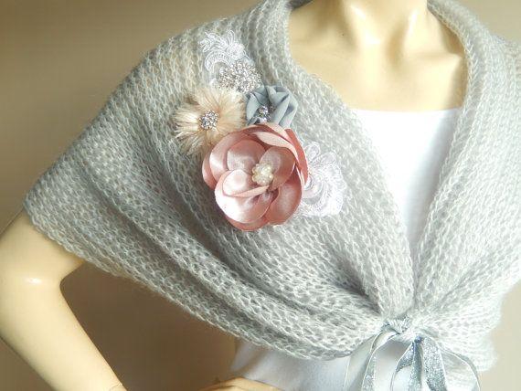 Grey Bridal Capelet / Wedding Wrap Shrug by dreamhouse1 on Etsy