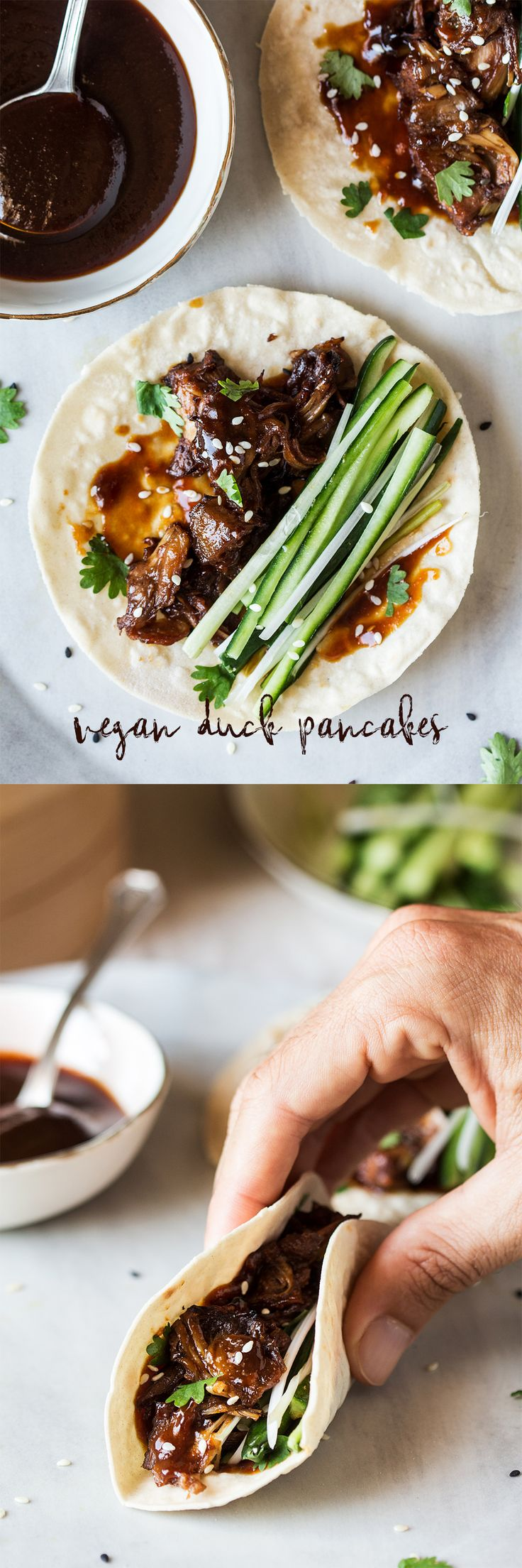 """This is titled """"vegan duck pancakes"""". I don't even know where to start"""