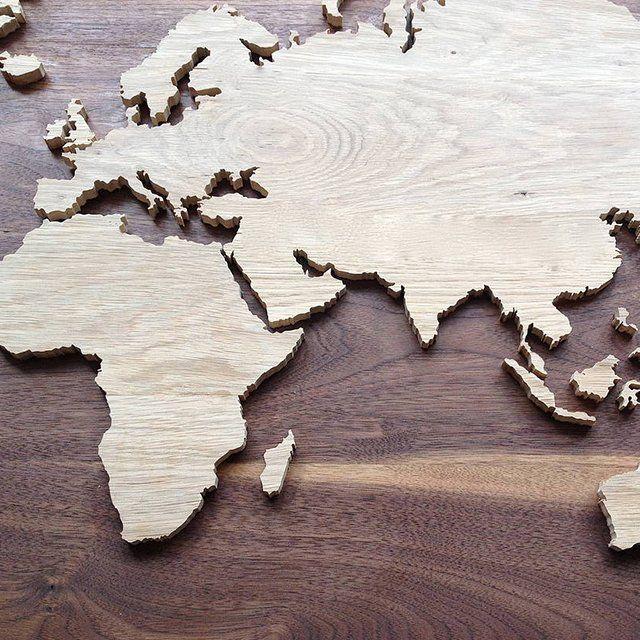 Frickelarbeit - aber geil! Weltkarte aus Holz