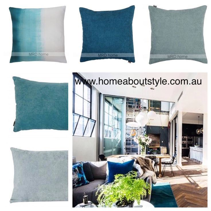 """Get """"The Block Look""""....A bright and refreshing look to update your home!! These colours team brilliantly with an array of decor schemes. $49 -$69 each www.homeaboutstyle.com.au cushions @home_about_style #interiordesign #homedecor #homeaccessories #homedecorators #homedecoratingideas #luxury #stylish #teal #aqua #cushions #theblock #theblockglasshouse #getthelook #throwpillows #pickoftheday #homeaboutstyle #mrdhome"""