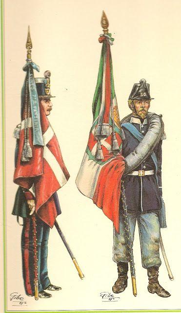 1848.- Abanderado del 7º regimiento  de infanteria  ,Cuneo 1859.- Abanderado del 10º regimiento de infanteria Regina.jpg