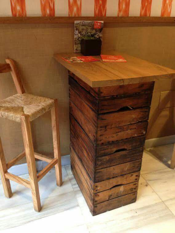 Bistro table made from crates