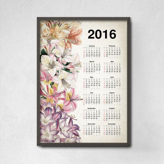 Rhododendron Flowers Calendar 2016  Antique por QuantumPrints
