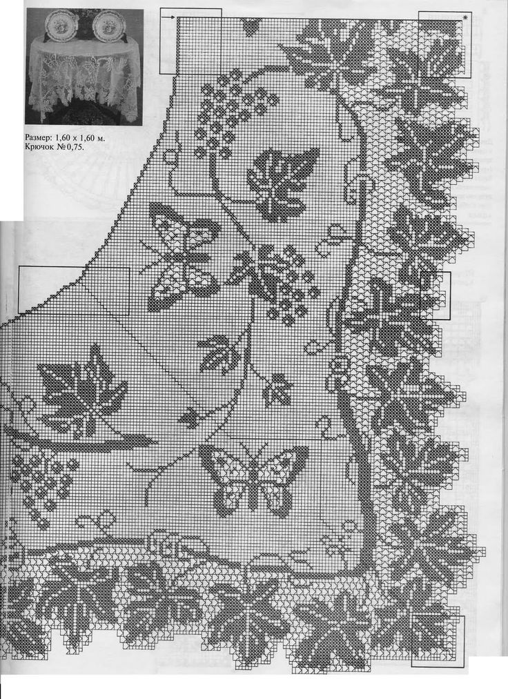 "Grapes and Butterflies by Mary Card. Filet Crochet chart: part 2. ""MUESTRAS Y MOTIVOS con Graficos"""