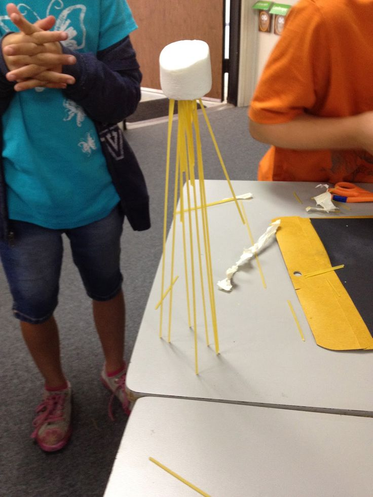 Team-bulding exercise: Groups have 18 minutes to build the tallest freestanding tower using 20 sticks of spaghetti, 1 yard of masking tape, 1 yard of string, and 1 marshmallow.