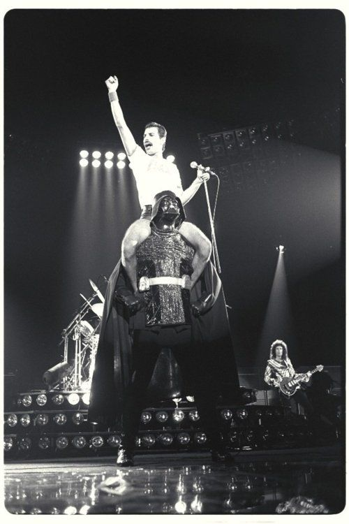 Unexplainable Photo Of Freddie Mercury Riding Darth Vader  In a weird way, this makes so much sense.