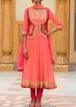 Peach and Pink Georgette Salwar Suit #Shop #Now #Anarkali #Suits #By #Vasansi #Jaipur