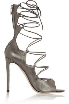 Gianvito Rossi Metallic leather lace-up sandals | ht