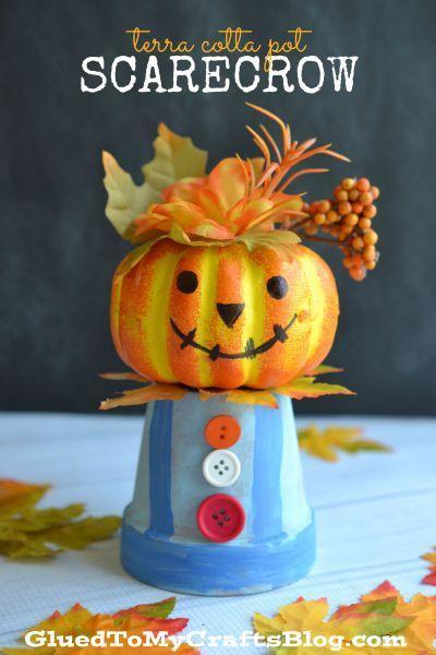 Terra Cotta Pot Scarecrow - Kid Craft Idea