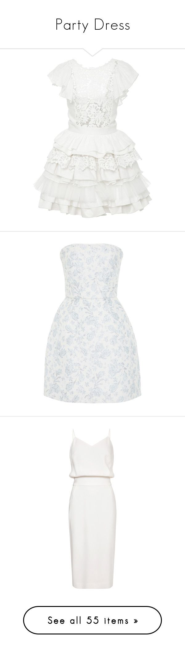"""""""Party Dress"""" by luciaborrayo on Polyvore featuring dresses, white, white frilly dress, tiered ruffle dress, ruffle cocktail dress, white ruffle dress, applique dress, blue, white blue dress y blue fit and flare dress"""