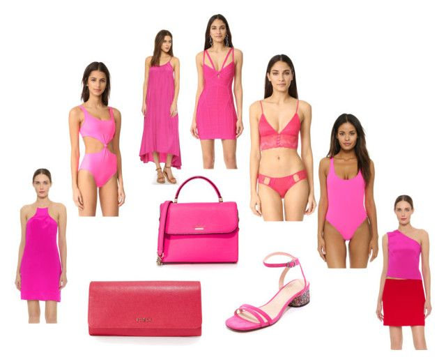 """Pink panthers"" by kristen-stewart-2989 ❤ liked on Polyvore featuring Honeydew Intimates, Kate Spade, Pink Stitch, KaufmanFranco, Hervé Léger, Marc Jacobs, Furla and vintage"