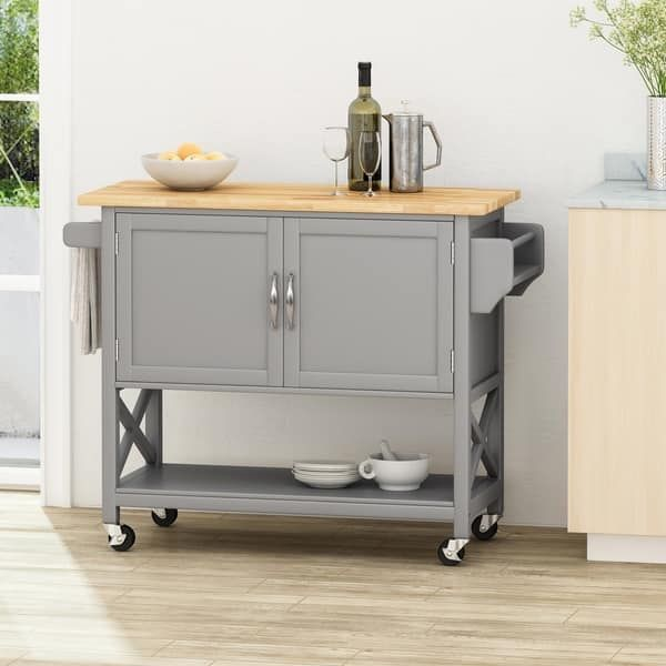 Finzer Farmhouse Kitchen Cart With Wheels By Christopher Knight Home 43 12 W X 17 25 L X 35 25 H In 2020 Kitchen Cart Kitchen Cabinets On Wheels Farmhouse Kitchen