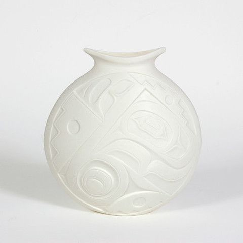 """Porcelain Vase, 'Woven'. Design by Terry Jackson. 8 1/2"""" x 8"""" x 3 1/2"""", design is different on both sides. $130.00 CAD. Available at Northwestcoastgifts.com."""