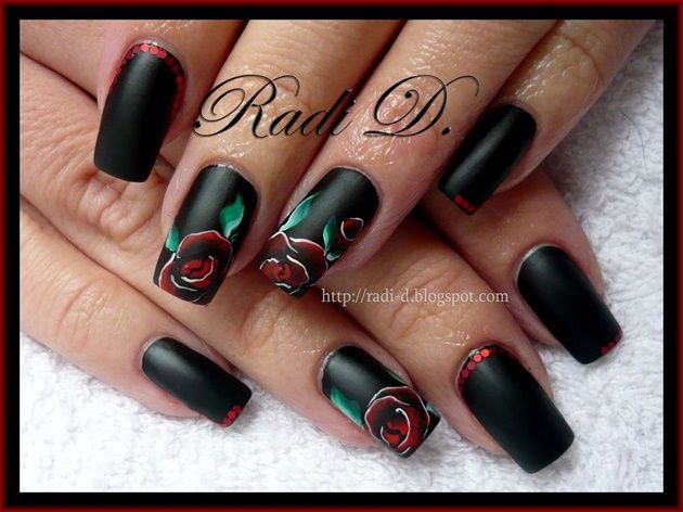232 best advanced nail art ideas images on pinterest art ideas its all about nails black matte rose prinsesfo Image collections
