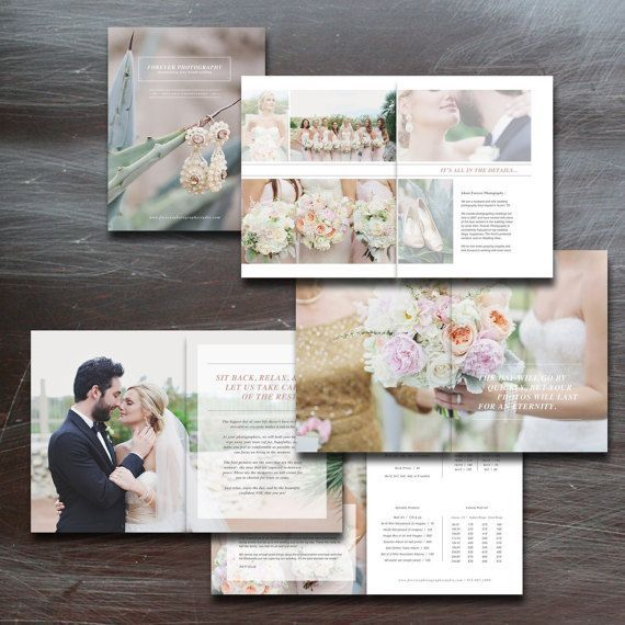 Wedding Magazine Template for Photographers - Photo Studio Welcome Guide - PSD Files - Digital Price List - Pricing Templates - m0009
