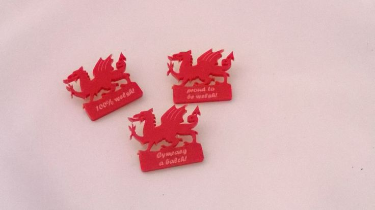 Acrylic welsh dragon laser cut and engraved brooches - Designed and laser cut in Pembrokeshire, Wales! perfect for St.David's Day!